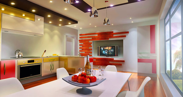 Lively Popular Arts Beautifying Modern Interior Look: Sleek Modern Kitchen Design With Ceiling Lamps And White Table