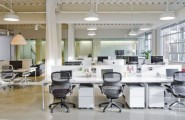 Remarkable Open Office Design Of Portland Based Firm : Sleek Modern Office Space In Neat Decor With Pendant Lamps