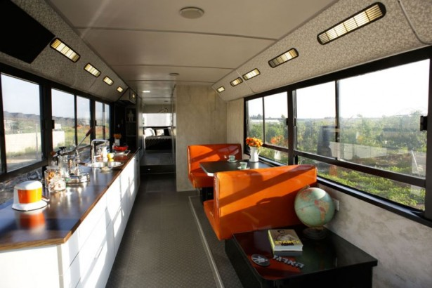Modern Indoor Made Uniquely In A Bus Interior Space: Sleek Narrow Interiors Of The Revamped Bus Whoeing Orange Seats And White Cabinet ~ stevenwardhair.com Interior Design Inspiration