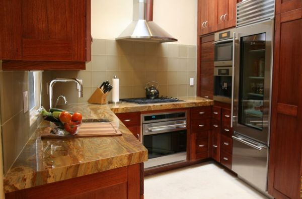 25 Designs Of Glass Door Refrigerators : Sleek Refrigerator With Metal Doors Nicely Used In A Kitchen With Largely Wooden Surfaces