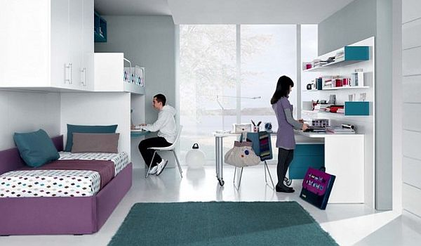 Fantastic Teen Rooms Designs Teenagers Will Love: Sleek Teenagers Room Jade Mauve And White Furniture And Decor