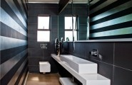 Top Stunning Lighting And Stylish Interiors In Johannesburg : Small Bathroom With Stripes On Walls