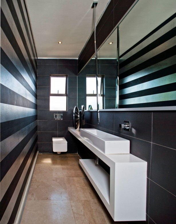 Awesome Luxurious House Interior Furnished With High Class Furniture: Small Bathroom With Stripes On Walls ~ stevenwardhair.com Interior Design Inspiration