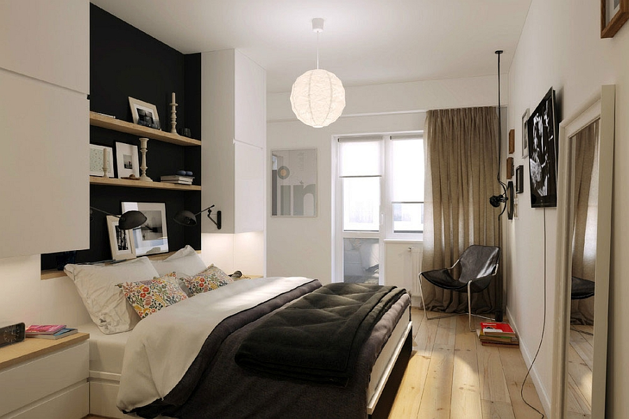 Compact Small Apartment In Black And White Decoration: Small Bedroom In Russian Apartment With Smart Shelves And White Pendant Lighting Design