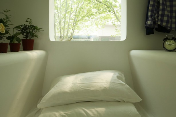 Beautiful Micro House For Small And Functional Residential Place: Small Bedroom With Some White Pillows On White Bed Mattress ~ stevenwardhair.com Minimalist Home Design Inspiration
