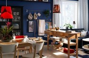 Varied Kitchen Table Sets For The House : Small House Interior Minimalist Kitchen Table Sets Blue Wall