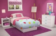 Colorful Kids Bedroom Ideas In Small Design : Small Minimalist Children Bedroom Kids Bedroom Ideas Purple Wall