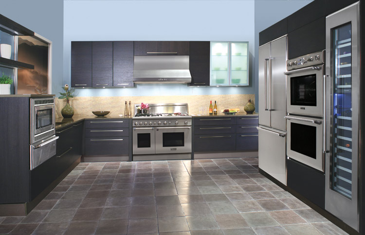 Colorful Modern Kitchen Ideas Offer Rare Model Options : Small Modern Kitchen Ideas Tile Floor Black Wooden Cabinet