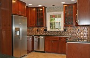 Simple Kitchen Remodel Ideas For Your Kitchen : Small Sectional Tile Backsplash Wooden Cabinets Kitchen Remodel Ideas