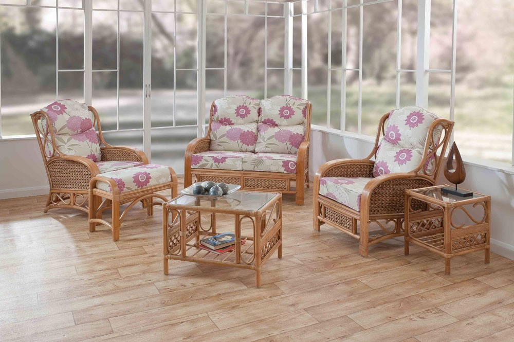 Cane Conservatory Furniture For Indoor And Outdoor Design : Small Table Cane Chair Side Glass Table Glass Bowl