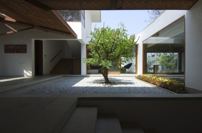 Perfect Courtyard Design For Our House : Small Tree On Gravel Pebble Courtyard Design Stunning Indoor Garden