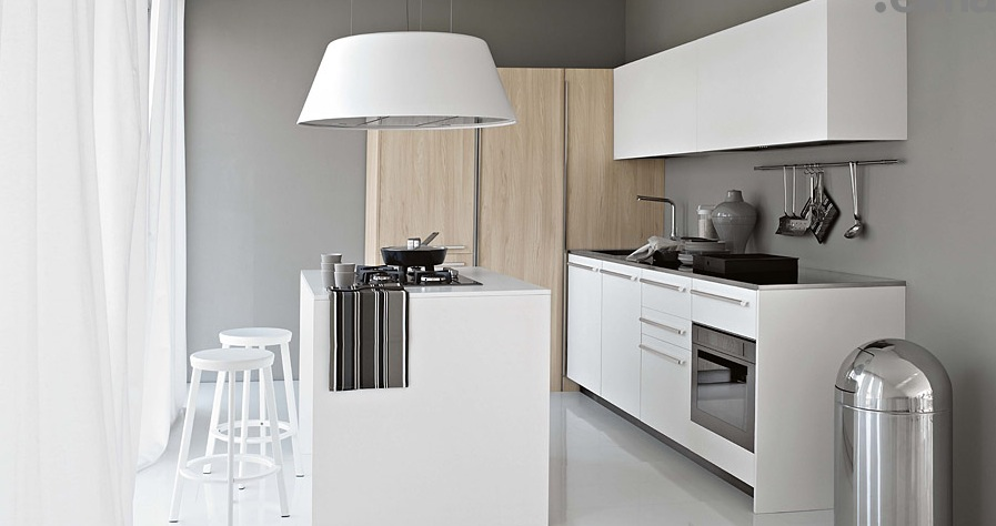 Enchanted Modern Kitchen In White: Smaller White Kitchen With Light Wood Elements