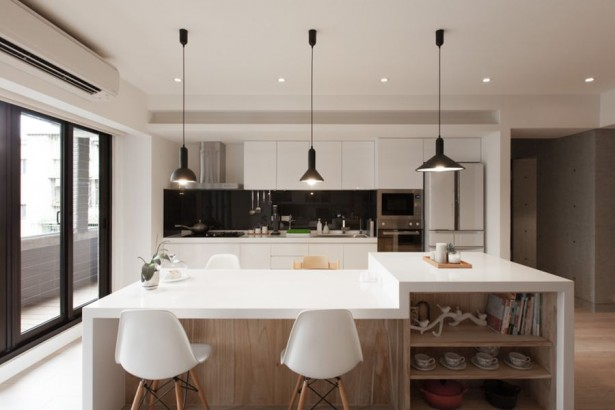 Fantastic Homey Contemporary Apartment Drive You Endure Staying There: Smart Kitchen Island In Wood With A White Countertop ~ stevenwardhair.com Apartments Inspiration