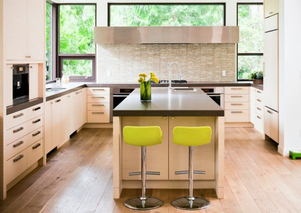 Wonderful Modern Kitchen Interior Designs In Neutral Shades: Smart Kitchen With Touch Of Yellow ~ stevenwardhair.com Kitchen Designs Inspiration