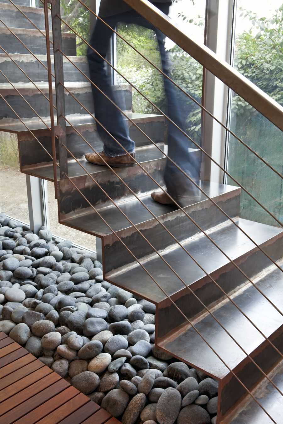 Awesome Modern House Design With Elegant Aesthetic Interior And Exterior : Smart Use Of River Stone Inside The House Under The Staircase