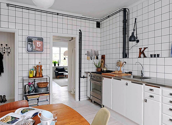 Beautiful Colorful Kitchen Made Stunningly And Elegantly: Smart Use Of Tile And Exposed Pipes To Create The Retro Glamor