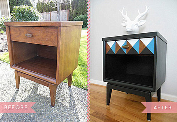 Creative Furniture Modifying Interior Design Perfectly : Smart Vintage Nightstand Makeover From Wooden To Dark Color