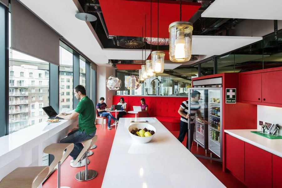 Futuristic College Campus Dominated With Glass Decoration: Smartly Designed Cafeteria At The Google Campus In Red And White