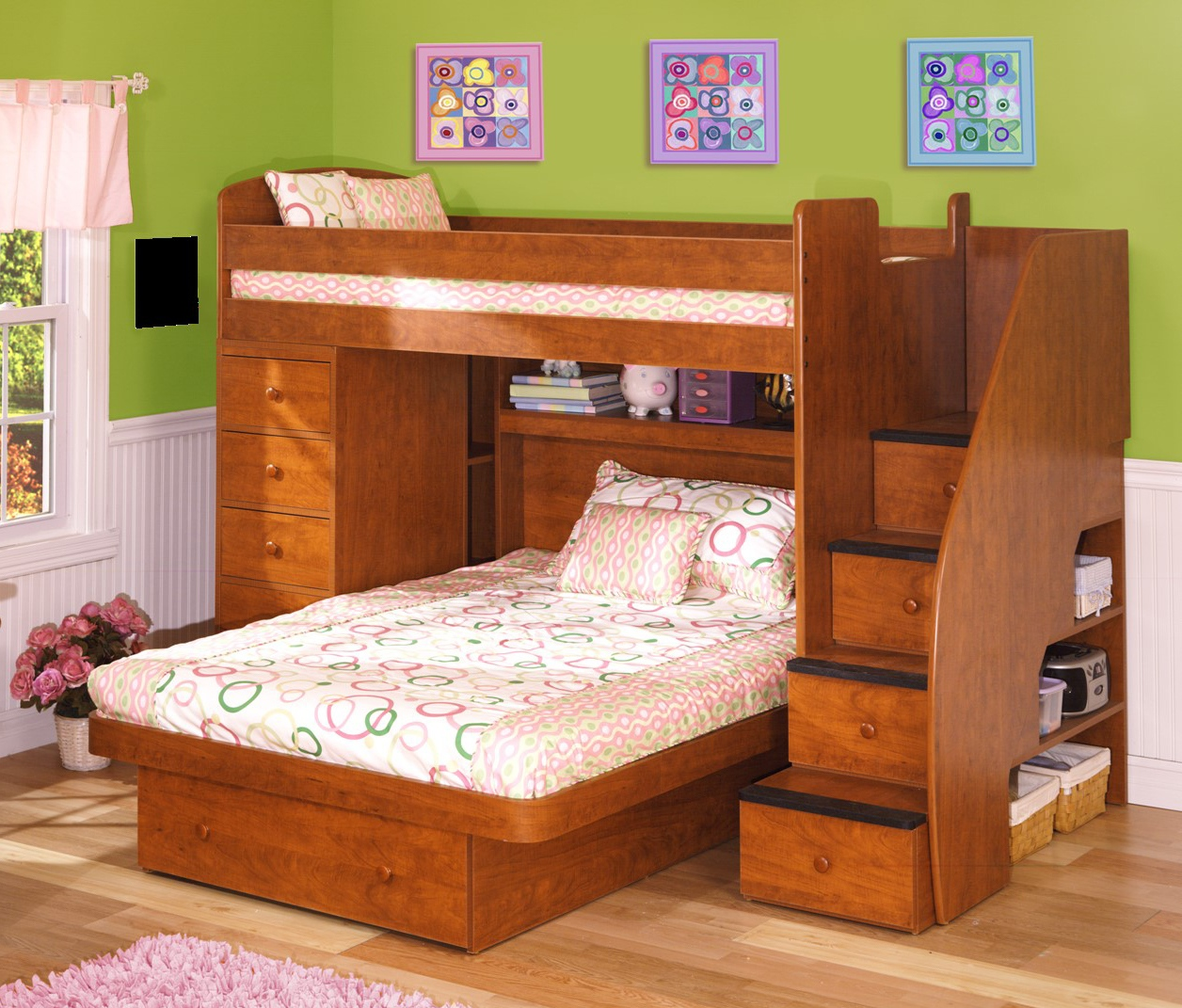 Simple L Shaped Bunk Beds For Small Bedroom Space: Solid Wood For L Shaped Bunk Beds Design