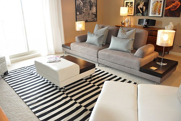 Amazing Elegant Living Room Design To Enhance Your Interior Decoration : Sophisticated Living Room Design With Black And White Carpet