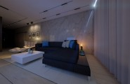 Fascinating Contemporary Home In Amazing Interior Design : Spacious Lounge Area Without Wall Divider Project With Dark Night Atmosphere