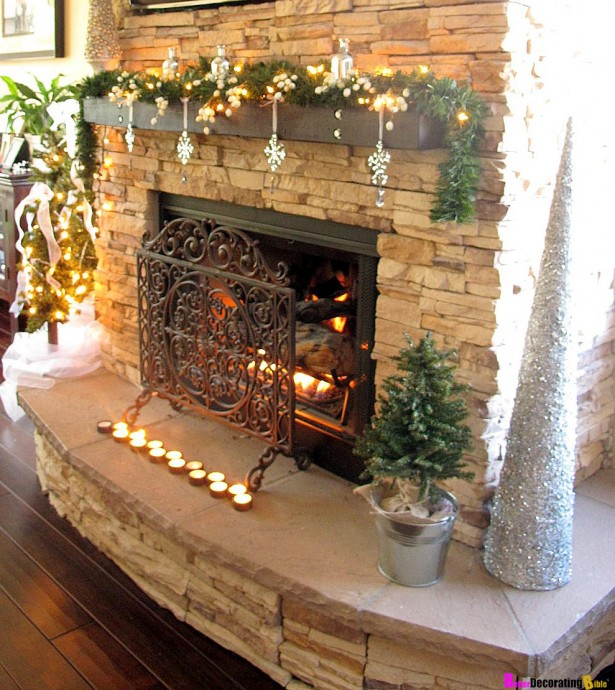 Cool Christmas Mantels Design With Colorful Ribbon And Glossy Ornament: Sparkling Christmas Mantels Design Shiny LED Lights Silver Cone ~ stevenwardhair.com Tips & Ideas Inspiration