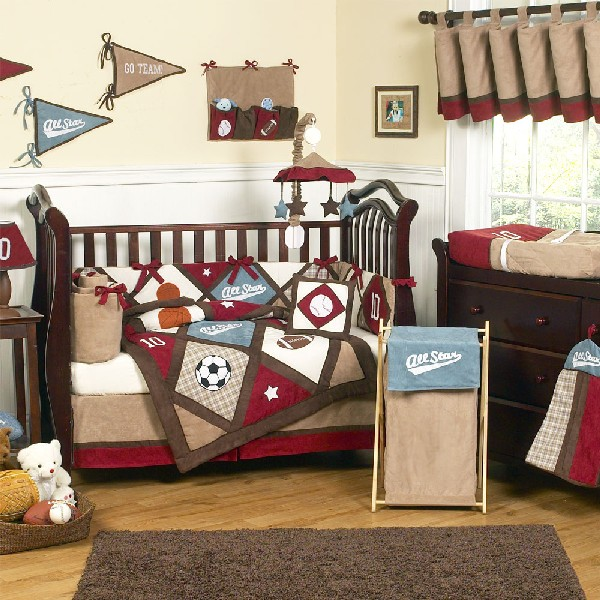 Colorful Baby Boy Nursery Interior Design : Sports Baby Bedding To Get Your Dude Started Young