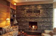 Stone Fireplace Design Comes With The Natural Idea : Stacked Stone Fireplace For Contemporary Living Room