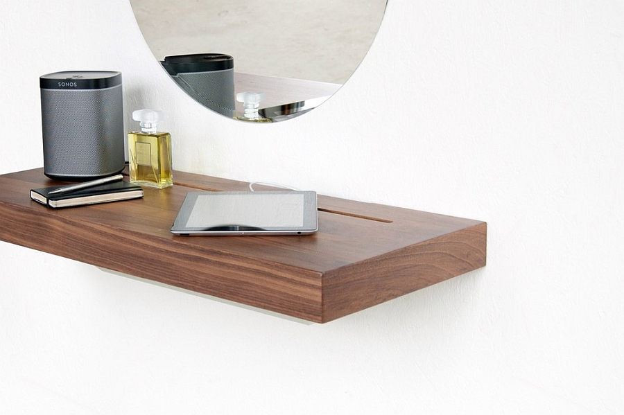 Versatile Simple Desk To Manage Your Gadget Cable Mess: Stage Doubles As Work Desk Round Frameless Wall Mirror