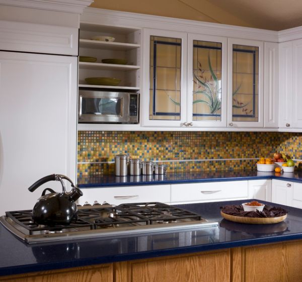 Sparkling Kitchen Cabinet Designs With Glass Doors: Stained Glass Door Kitchen Cabinets For Those Who Love A Dash Of Color