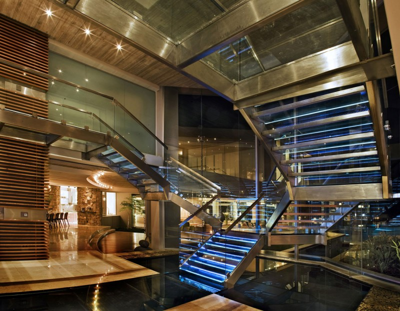 Beautiful Extra Luxurious Home In Your Mind: Steel Stairs With Blue Neon Light Above The Water Pond
