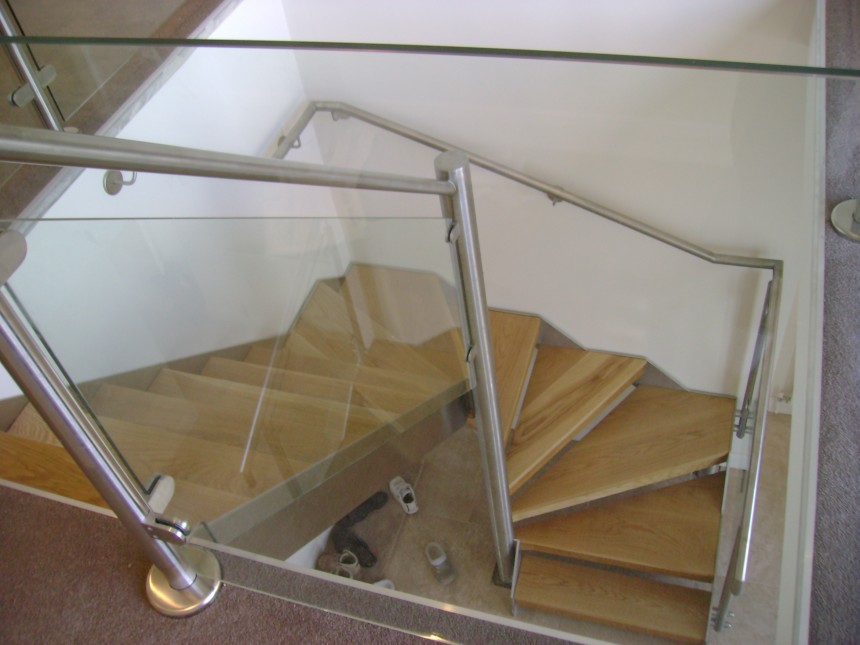 Classy Winder Staircase Design Represents With Rustic Looks : Steep Winder Staircase Design Stainless Steel Banister Glass Railing