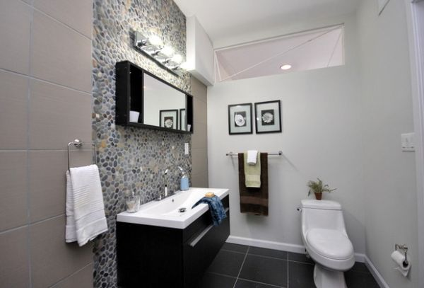 Floating Cabinet And Vanity Set For Every Home: Stone Tile And Sleek Floating Sink In Black Form This Chic Bathroom