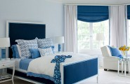 Inspiring Modern Interior Design For Much Better Life : Striking Blue Bedroom Decor Ideas With Blue Soft Headboard