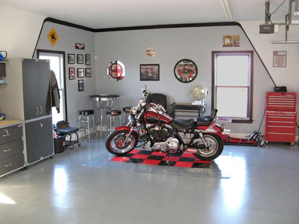 Mesmerizing Motorcycle Display For Gorgeous Decoration Concept: Striking Dream Motorcycle Garage Design With Corner Sitting Area