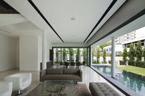 Contemporary Home Style With Attractive Appearance: Striking Open Floor Living Plan With Fresh Swimming Pool ~ stevenwardhair.com Contemporary Home Design Inspiration