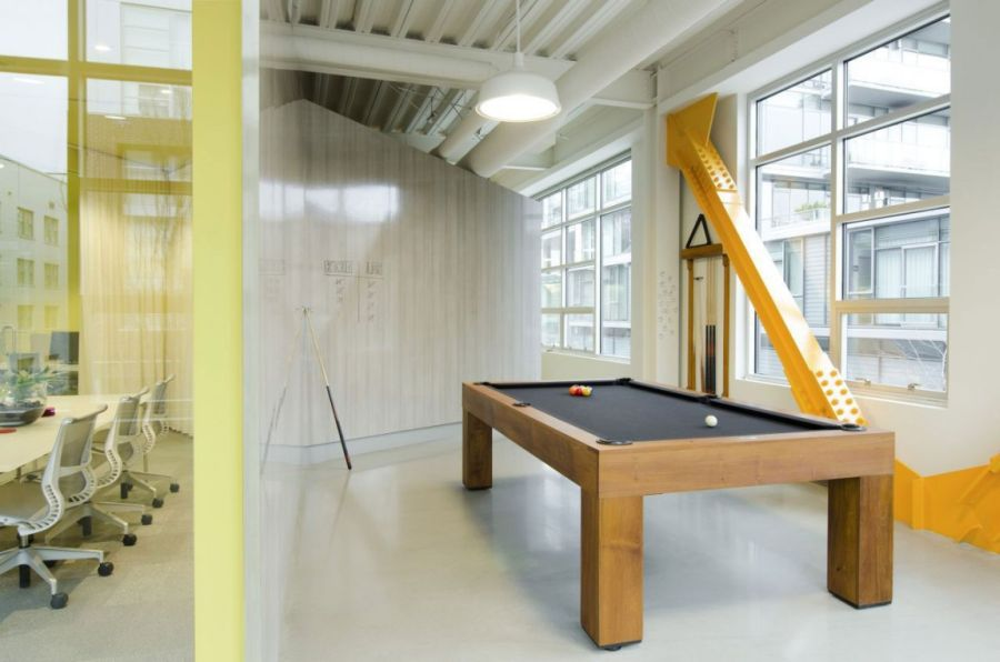 Remarkable Open Office Design Of Portland Based Firm: Striking Wooden Pool Table In The Office Game Room To Relax