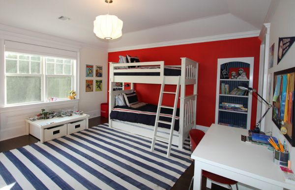 Amazing American Bedroom Design Comes With The Red, White And Blue Colors: Striped Carpet And Accents Of Red For A Trendy Boys Bedroom ~ stevenwardhair.com Bedroom Design Inspiration