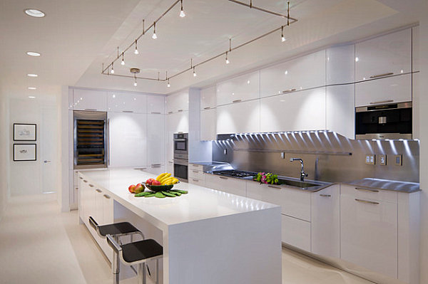 Chic Neon Lighting In Kitchen: 12 Images : Striped Under Cabinet Lighting In The Kitchen