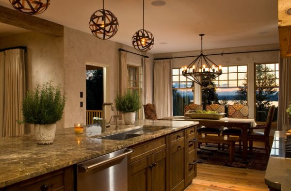 Doing Up Your Kitchen With Astounding Hanging Pendant Lights: 55 Inspiring Images: Stripped Pendant Spheres Steal The Show In This Organized Kitchen