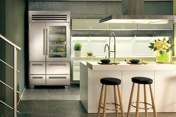 25 Designs Of Glass Door Refrigerators : Stunning And Sleek Kitchen With Glass Front Refrigerator