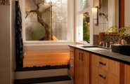 Japanese Bathroom Design: Traditional Touch In Modern Lifestyle : Stunning Asian Themed Master Bath With Nuetral Shades And Lovely Bamboo Cabinetry