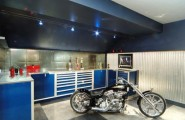 Mesmerizing Motorcycle Display For Gorgeous Decoration Concept : Stunning Blue Cabinetry At Dream Motorcycle Garage With Harley1
