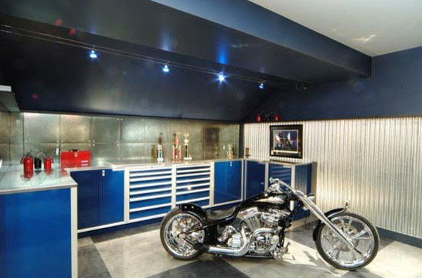 Mesmerizing Motorcycle Display For Gorgeous Decoration Concept: Stunning Blue Cabinetry At Dream Motorcycle Garage With Harley1