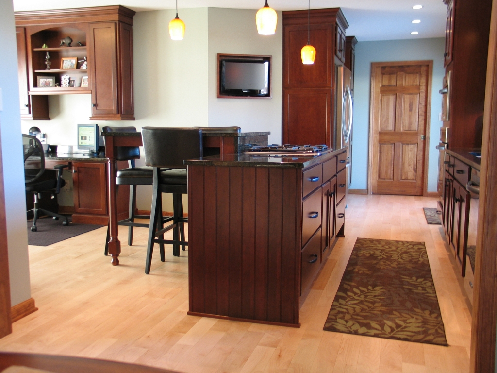 Open Kitchen Floor Plans Bring Family Closer: Stunning Cherry Kitchen Island Wide Minimalist Open Kitchen Floor Plans