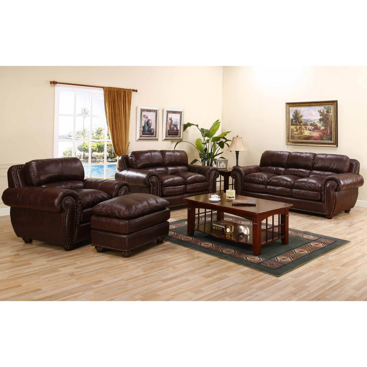 Gorgeous Interior Ideas With Big Sofas: Stunning Classic Style Brown Color Big Sofas Luxurious Accents