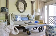 Bewitching Nautica Interior Ideas With Contemporary Furnishings Design : Stunning Covered Porch Design With Rustic Mobile Coffee Table