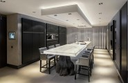Luxurious Contemporary Villa In Rotterdam : Stunning Dining Room And Kitchen With White Onyx Top