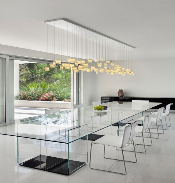 Inspirational Conference Table Design That You Will Love: Stunning Dining Room Design With Glass Table Design And White Interior Style ~ stevenwardhair.com Tables Inspiration