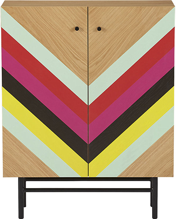 Stylish Triangular Wall Design For Colorful Interior Decoration : Stunning Hardwood Cabinet Design With Colorful Striped Motif Door Decal